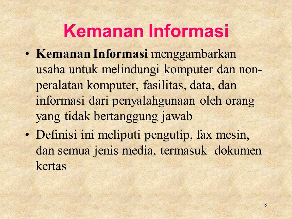 3 Kemanan Informasi Kemanan Informasi menggambarkan usaha untuk melindungi komputer dan non- peralatan komputer, fasilitas, data, dan informasi dari penyalahgunaan oleh orang yang tidak bertanggung jawab Definisi ini meliputi pengutip, fax mesin, dan semua jenis media, termasuk dokumen kertas