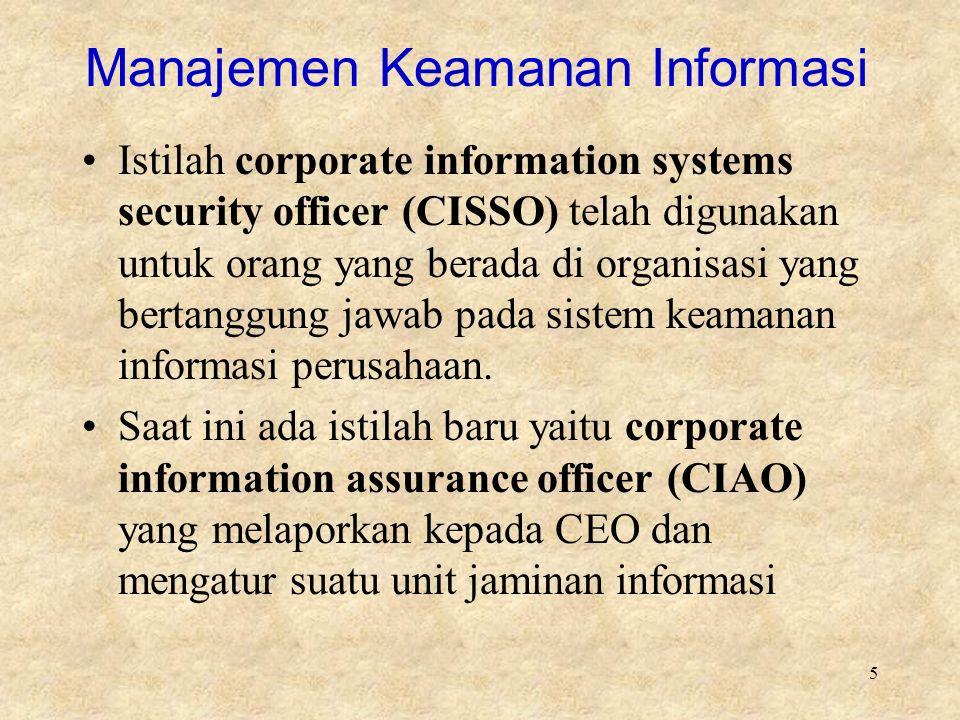 5 Manajemen Keamanan Informasi Istilah corporate information systems security officer (CISSO) telah digunakan untuk orang yang berada di organisasi yang bertanggung jawab pada sistem keamanan informasi perusahaan.