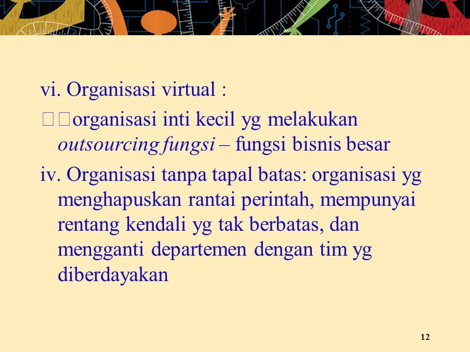 vi. Organisasi virtual : organisasi inti kecil yg melakukan outsourcing fungsi – fungsi bisnis besar iv. Organisasi tanpa tapal batas: organisasi yg m