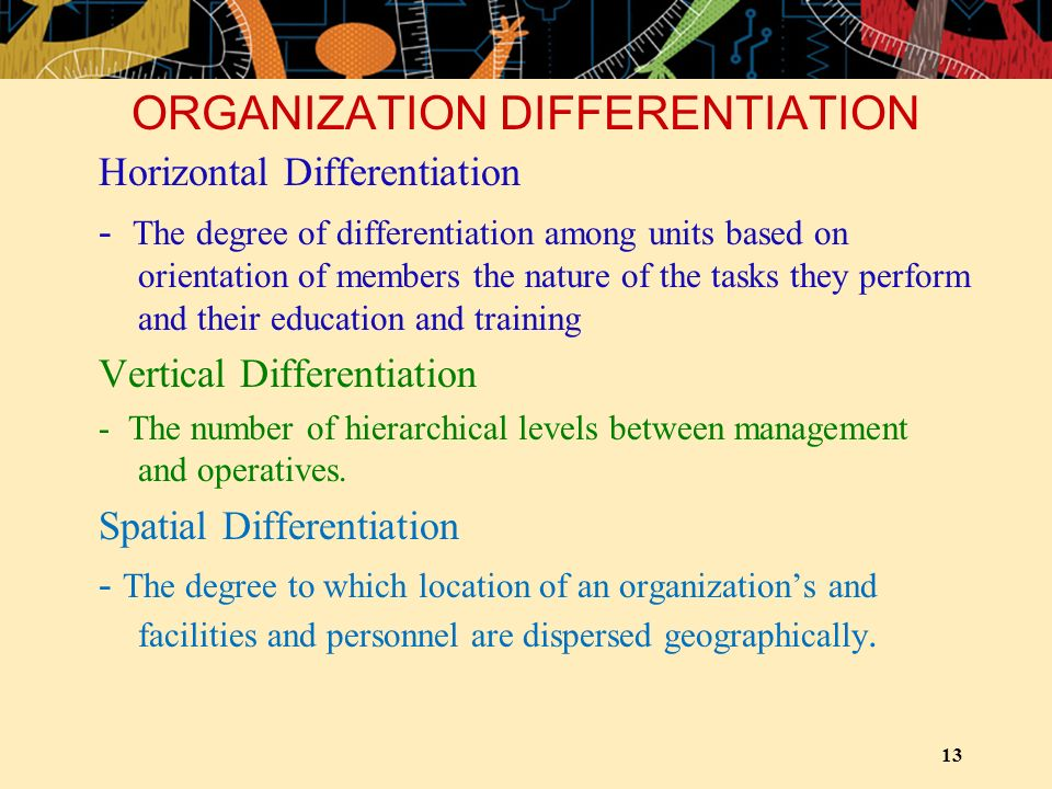 ORGANIZATION DIFFERENTIATION Horizontal Differentiation - The degree of differentiation among units based on orientation of members the nature of the