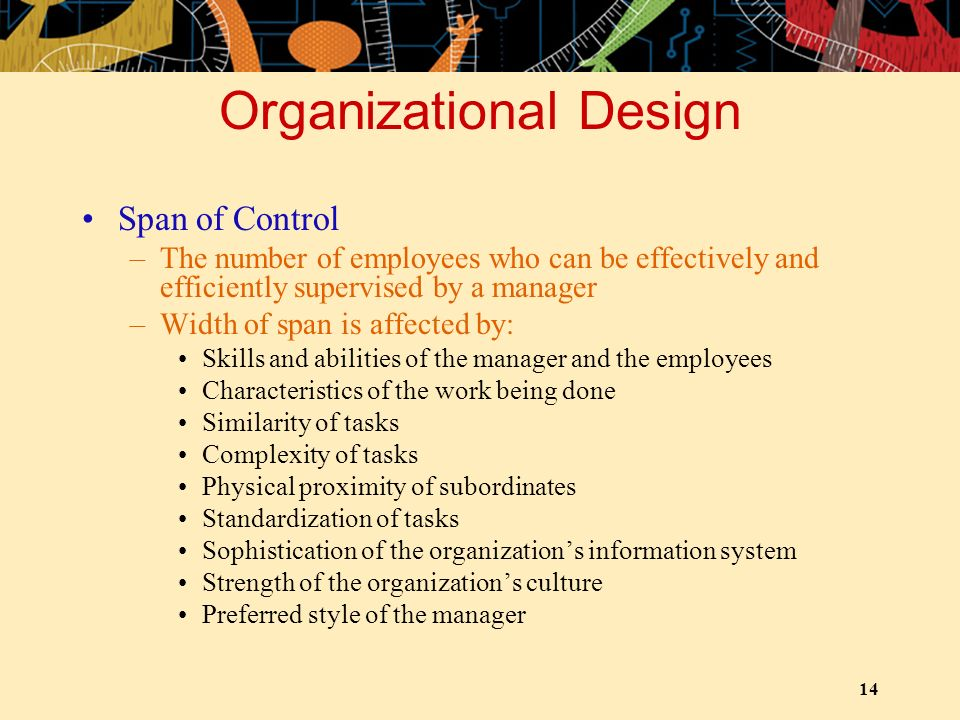 14 Organizational Design Span of Control –The number of employees who can be effectively and efficiently supervised by a manager –Width of span is aff