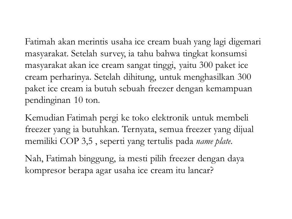 Fatimah akan merintis usaha ice cream buah yang lagi digemari masyarakat. Setelah survey, ia tahu bahwa tingkat konsumsi masyarakat akan ice cream san