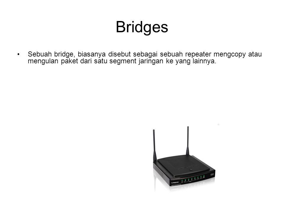 Bridges Sebuah bridge, biasanya disebut sebagai sebuah repeater mengcopy atau mengulan paket dari satu segment jaringan ke yang lainnya.