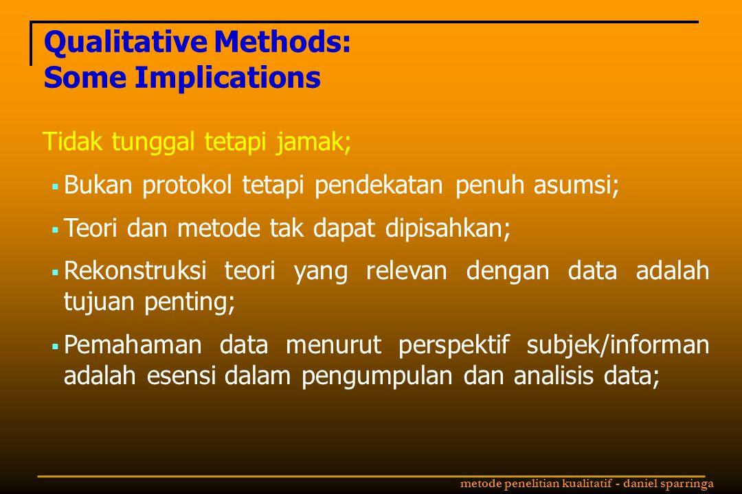 metode penelitian kualitatif - daniel sparringa Qualitative Methods: Some Implications Tidak tunggal tetapi jamak;  Bukan protokol tetapi pendekatan