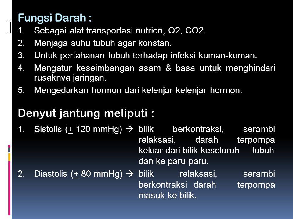 Fungsi Darah : 1.Sebagai alat transportasi nutrien, O2, CO2.