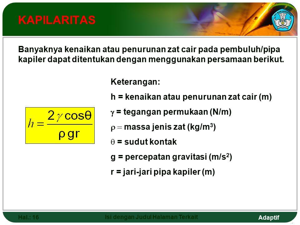 Adaptif Hal.: 16 Isi dengan Judul Halaman Terkait KAPILARITAS Banyaknya kenaikan atau penurunan zat cair pada pembuluh/pipa kapiler dapat ditentukan dengan menggunakan persamaan berikut.