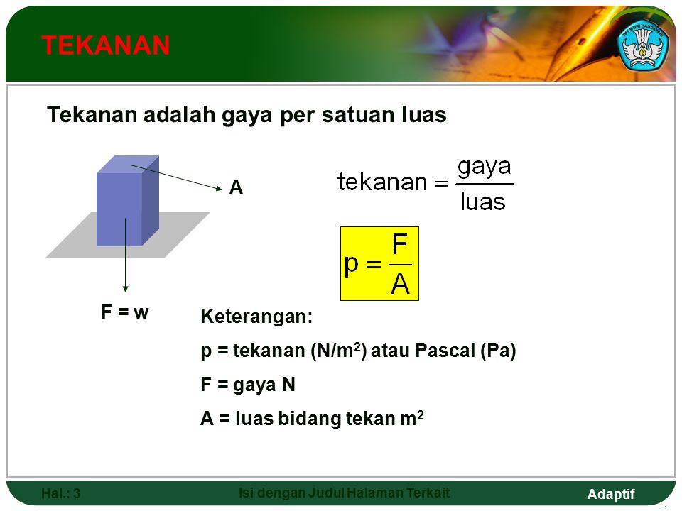Adaptif Hal.: 3 Isi dengan Judul Halaman Terkait TEKANAN Keterangan: p = tekanan (N/m 2 ) atau Pascal (Pa) F = gaya N A = luas bidang tekan m 2 F = w A Tekanan adalah gaya per satuan luas