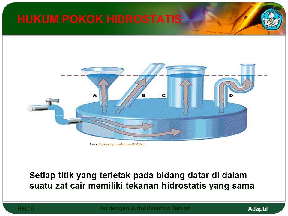 Adaptif Hal.: 17 Isi dengan Judul Halaman Terkait VISKOSITAS FLUIDA DAN HUKUM STOKES Ukuran kekentalan suatu fluida dinyatakan dengan viskositas.
