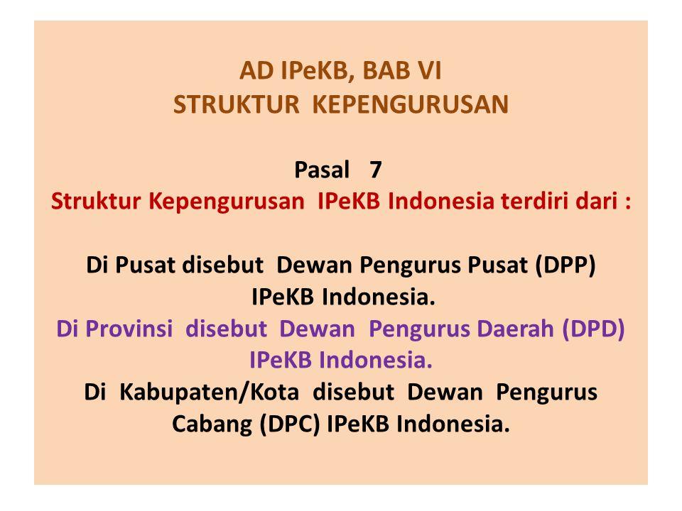 AD IPeKB, BAB VI STRUKTUR KEPENGURUSAN Pasal 7 Struktur Kepengurusan IPeKB Indonesia terdiri dari : Di Pusat disebut Dewan Pengurus Pusat (DPP) IPeKB Indonesia.