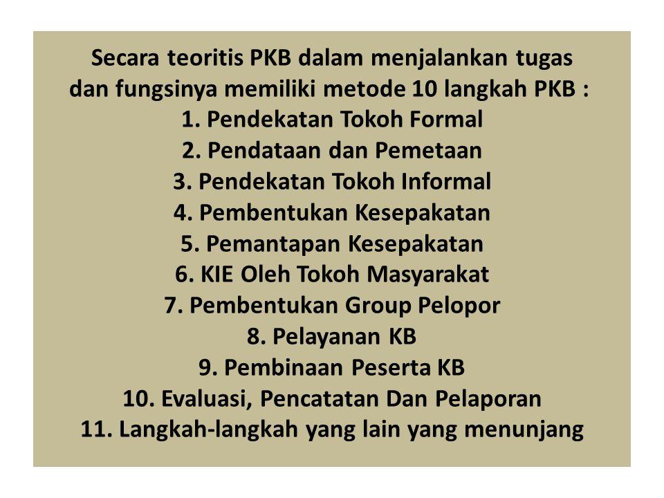 Secara teoritis PKB dalam menjalankan tugas dan fungsinya memiliki metode 10 langkah PKB : 1.