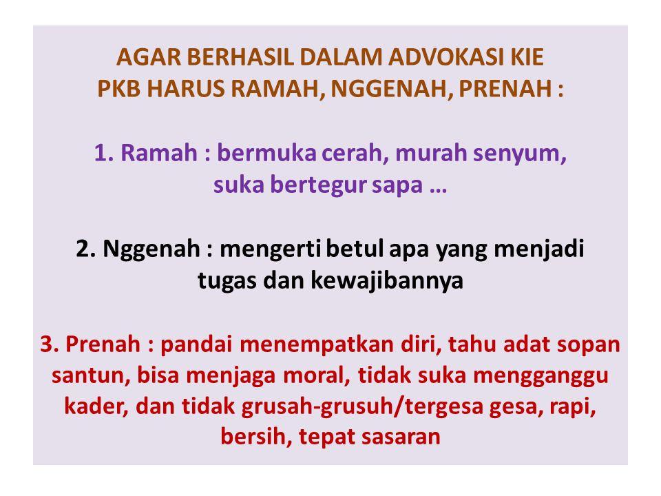 AGAR BERHASIL DALAM ADVOKASI KIE PKB HARUS RAMAH, NGGENAH, PRENAH : 1.