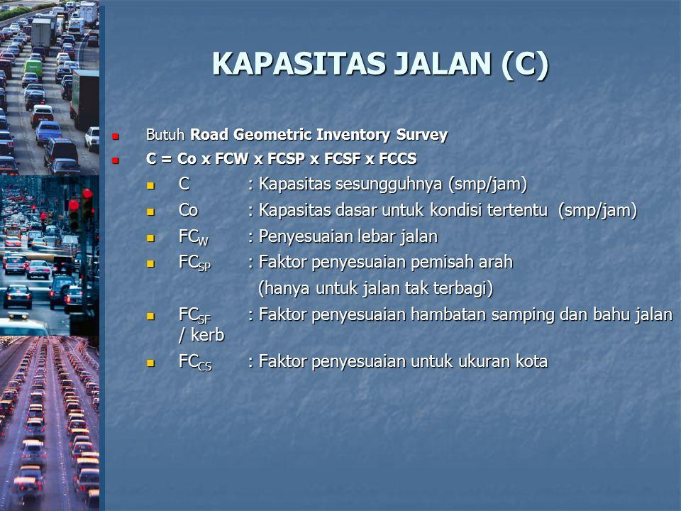 KAPASITAS JALAN (C) Butuh Road Geometric Inventory Survey Butuh Road Geometric Inventory Survey C = Co x FCW x FCSP x FCSF x FCCS C = Co x FCW x FCSP