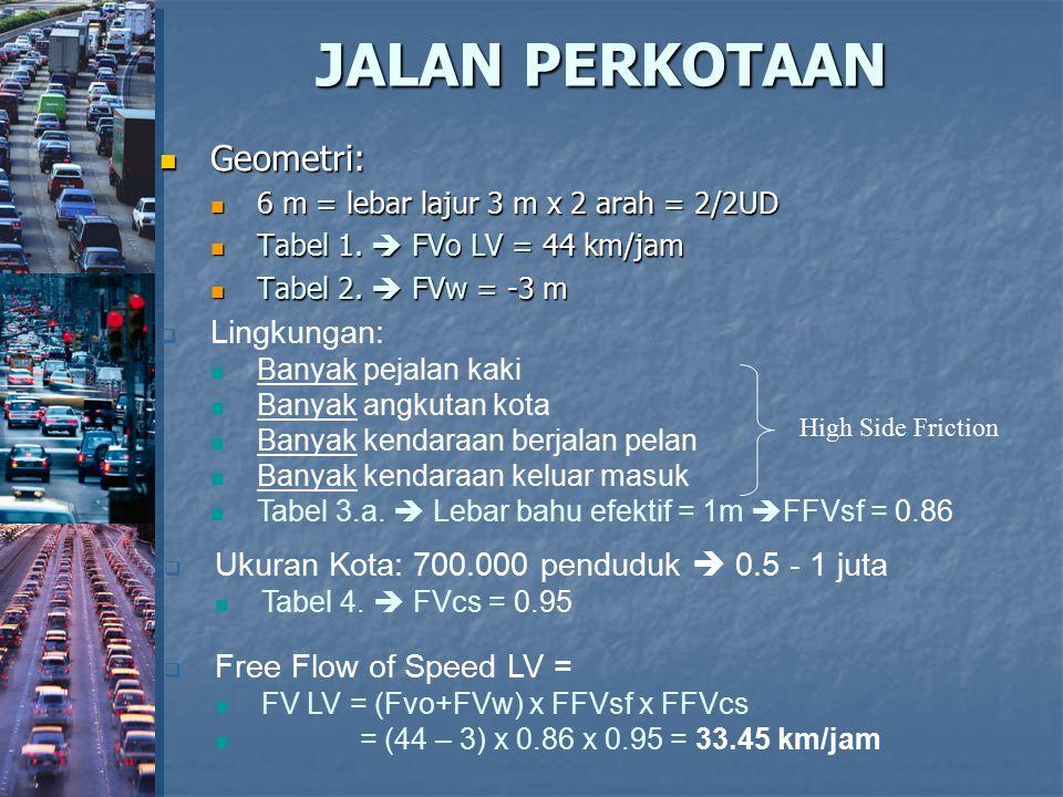 JALAN PERKOTAAN Geometri: Geometri: 6 m = lebar lajur 3 m x 2 arah = 2/2UD 6 m = lebar lajur 3 m x 2 arah = 2/2UD Tabel 1.  FVo LV = 44 km/jam Tabel