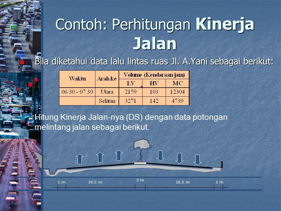 Contoh: Perhitungan Kinerja Jalan Bila diketahui data lalu lintas ruas Jl. A.Yani sebagai berikut: Bila diketahui data lalu lintas ruas Jl. A.Yani seb