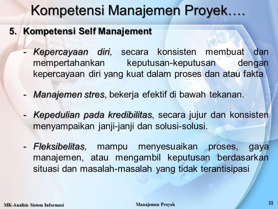 Kompetensi Manajemen Proyek…. 5.Kompetensi Self Manajement -Kepercayaan diri -Kepercayaan diri, secara konsisten membuat dan mempertahankan keputusan-