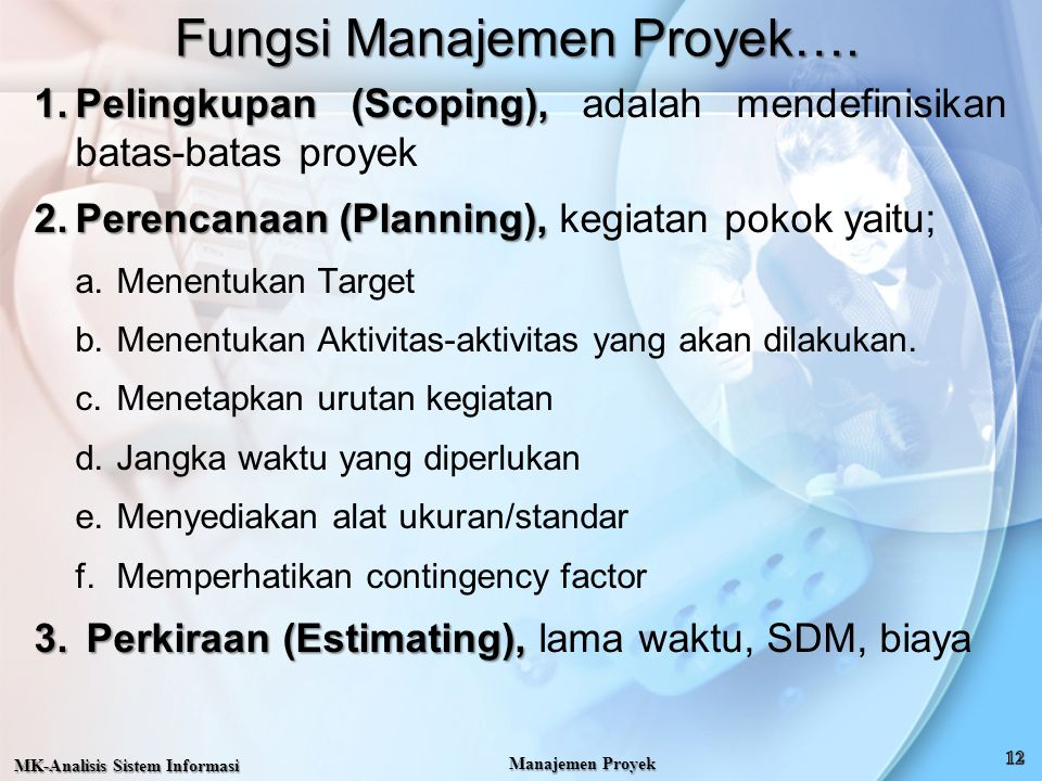 Fungsi Manajemen Proyek…. 1.Pelingkupan (Scoping), 1.Pelingkupan (Scoping), adalah mendefinisikan batas-batas proyek 2.Perencanaan (Planning), 2.Peren