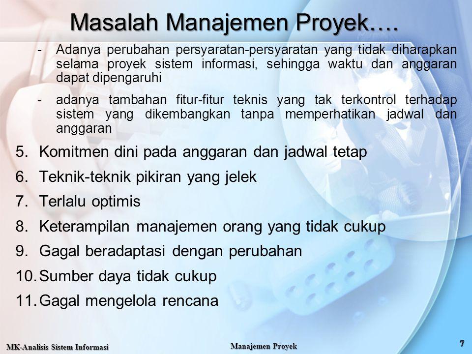 Masalah Manajemen Proyek…. -Adanya perubahan persyaratan-persyaratan yang tidak diharapkan selama proyek sistem informasi, sehingga waktu dan anggaran