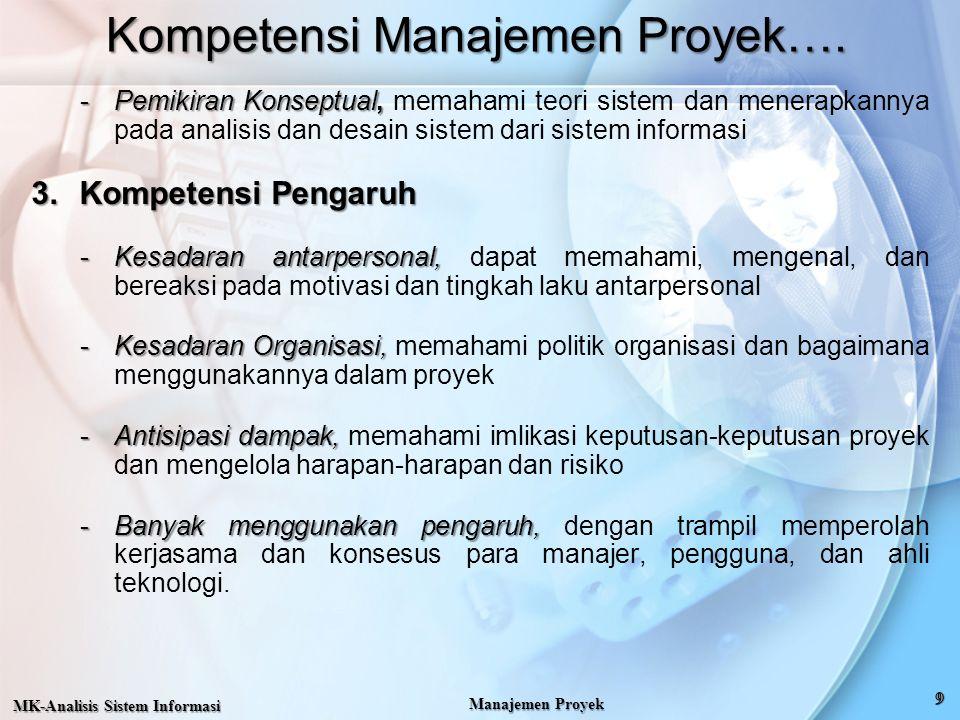 Kompetensi Manajemen Proyek…. -Pemikiran Konseptual, -Pemikiran Konseptual, memahami teori sistem dan menerapkannya pada analisis dan desain sistem da