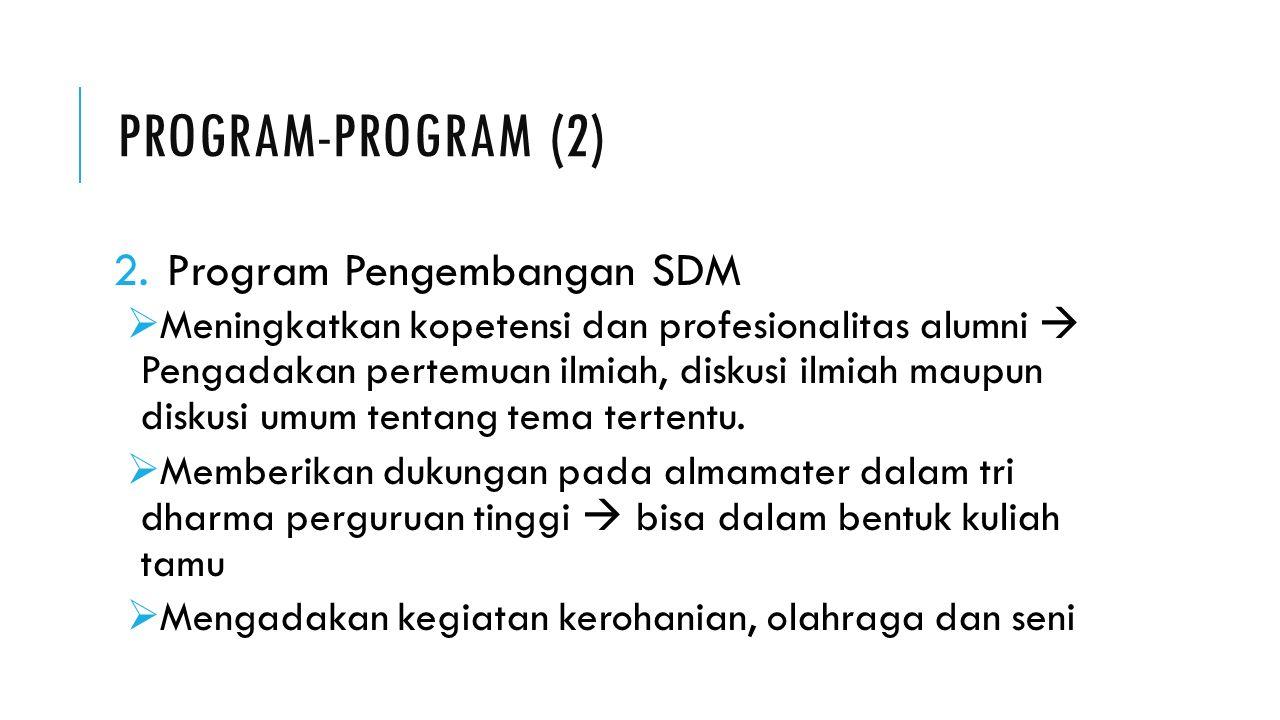 PROGRAM-PROGRAM (2) 2.Program Pengembangan SDM  Meningkatkan kopetensi dan profesionalitas alumni  Pengadakan pertemuan ilmiah, diskusi ilmiah maupun diskusi umum tentang tema tertentu.
