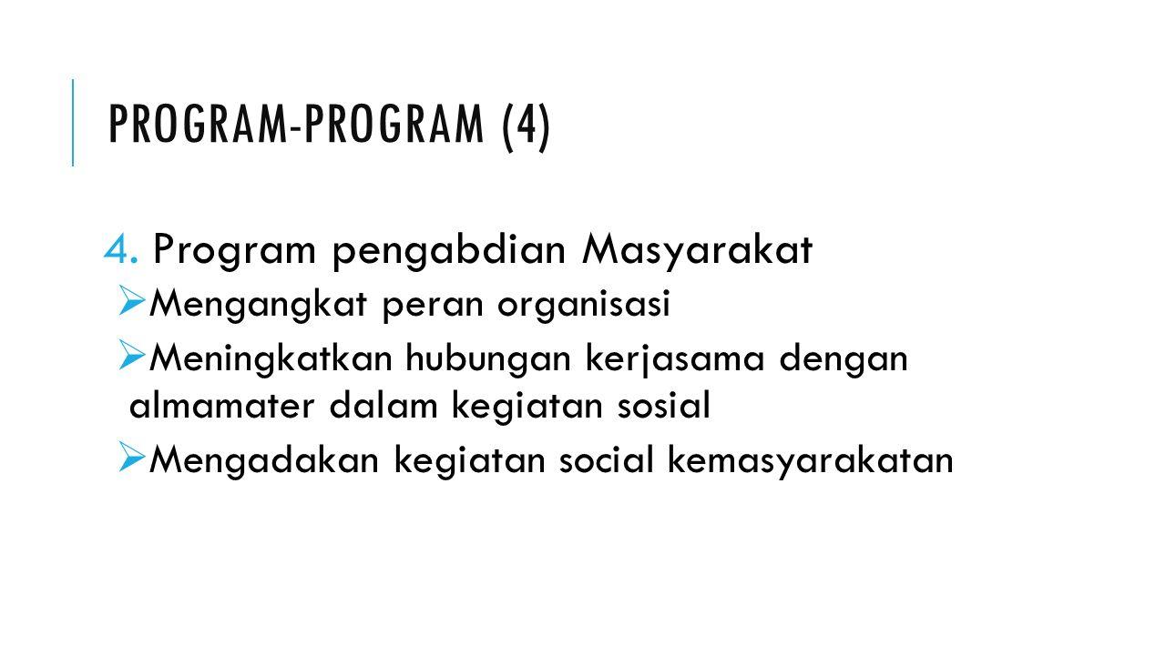 PROGRAM-PROGRAM (4) 4.Program pengabdian Masyarakat  Mengangkat peran organisasi  Meningkatkan hubungan kerjasama dengan almamater dalam kegiatan sosial  Mengadakan kegiatan social kemasyarakatan