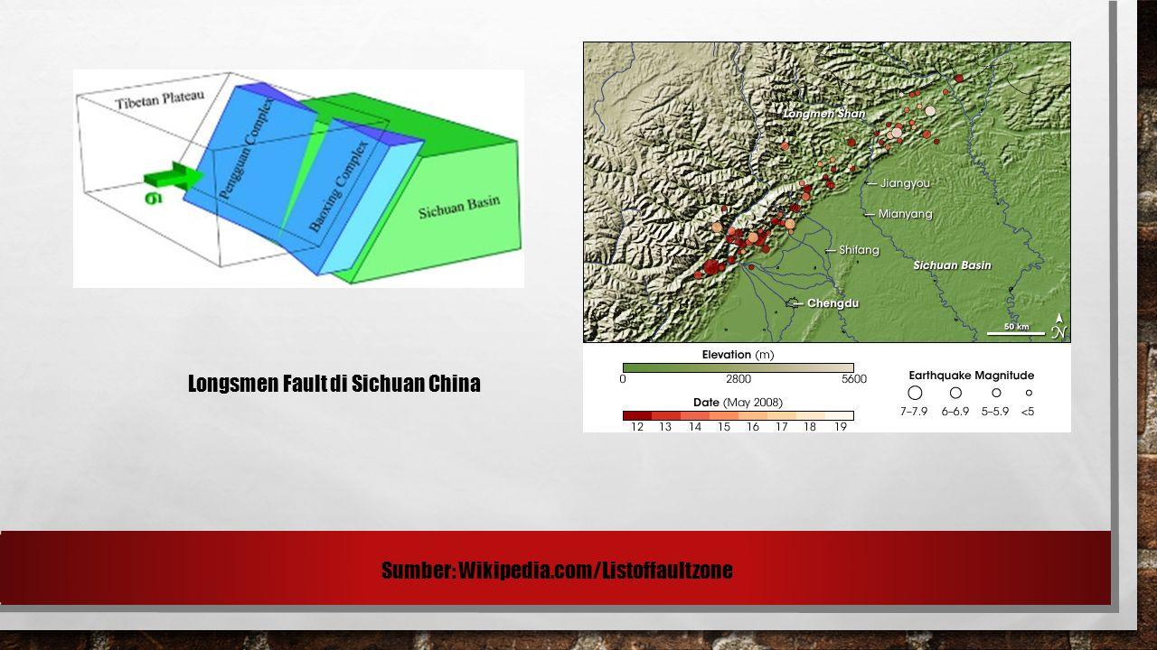 Longsmen Fault di Sichuan China Sumber: Wikipedia.com/Listoffaultzone
