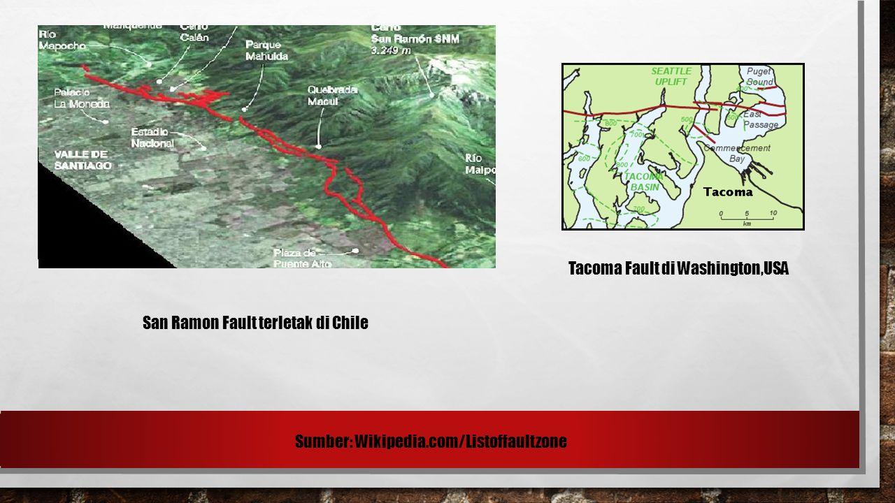 San Ramon Fault terletak di Chile Tacoma Fault di Washington,USA Sumber: Wikipedia.com/Listoffaultzone