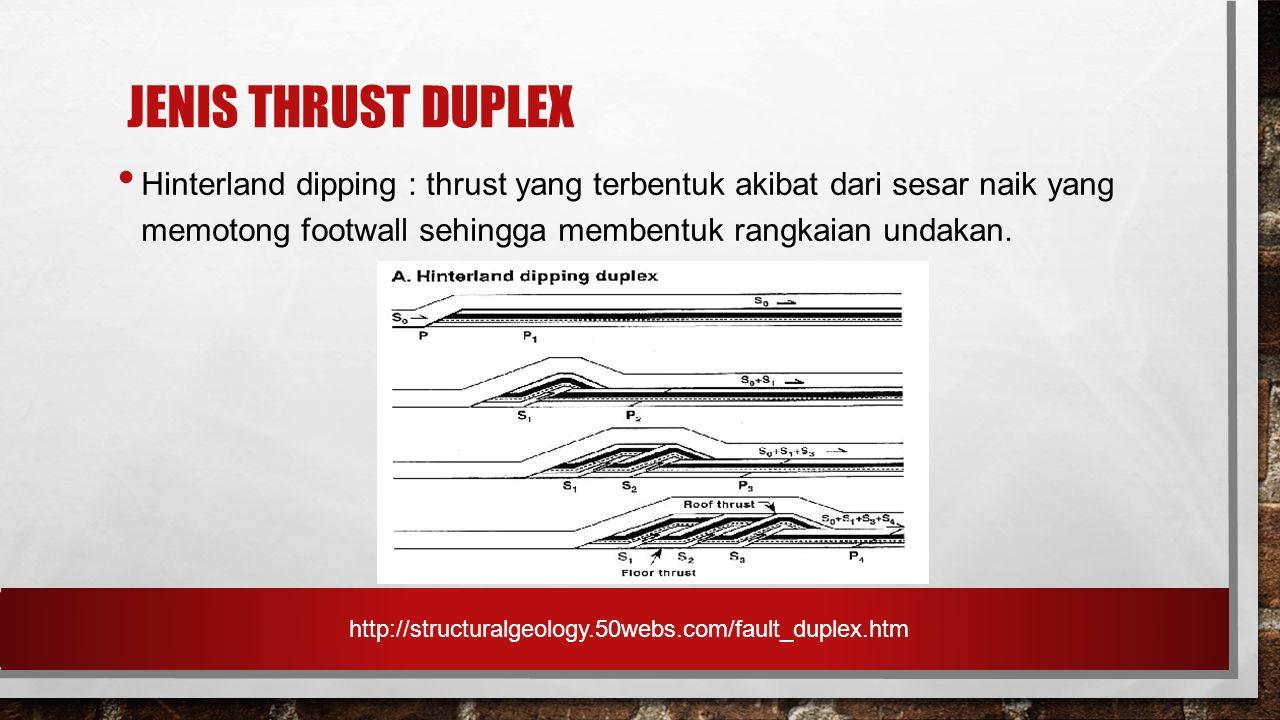 JENIS THRUST DUPLEX Hinterland dipping : thrust yang terbentuk akibat dari sesar naik yang memotong footwall sehingga membentuk rangkaian undakan. htt