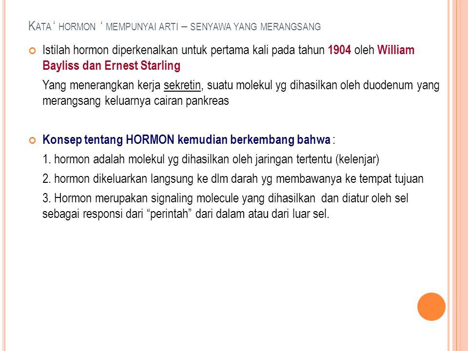 K ATA ' HORMON ' MEMPUNYAI ARTI – SENYAWA YANG MERANGSANG Istilah hormon diperkenalkan untuk pertama kali pada tahun 1904 oleh William Bayliss dan Ern