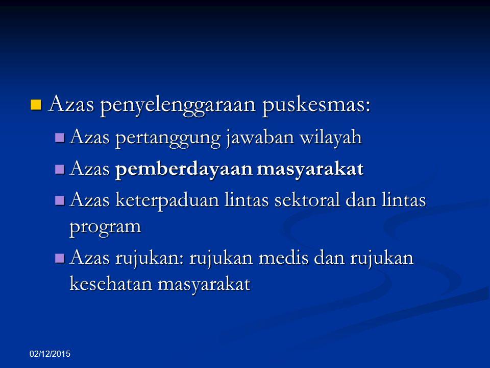 02/12/2015 Azas penyelenggaraan puskesmas: Azas penyelenggaraan puskesmas: Azas pertanggung jawaban wilayah Azas pertanggung jawaban wilayah Azas pemb
