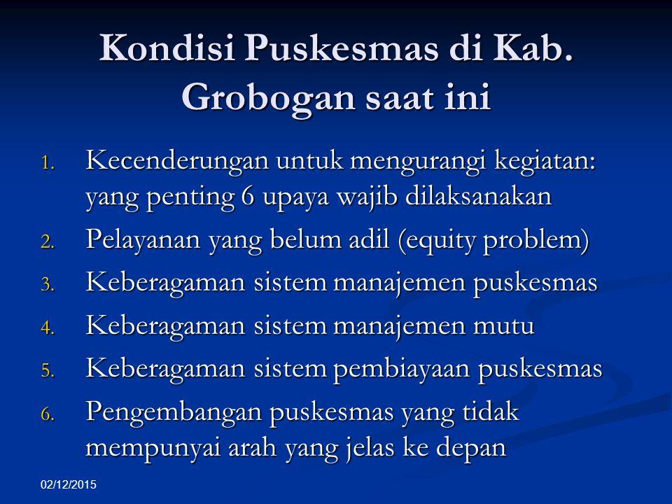 02/12/2015 Kondisi Puskesmas di Kab. Grobogan saat ini 1. Kecenderungan untuk mengurangi kegiatan: yang penting 6 upaya wajib dilaksanakan 2. Pelayana