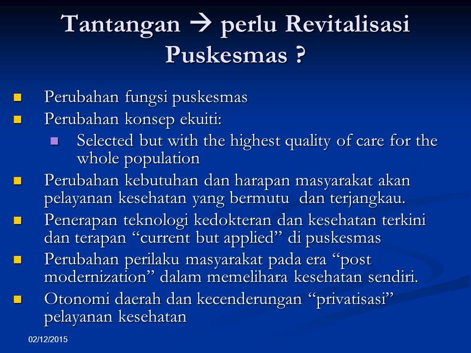 02/12/2015 Tantangan  perlu Revitalisasi Puskesmas ? Perubahan fungsi puskesmas Perubahan fungsi puskesmas Perubahan konsep ekuiti: Perubahan konsep