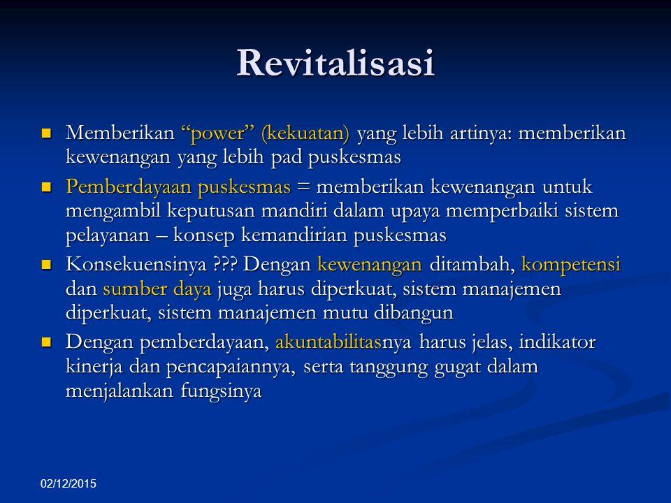 """02/12/2015 Revitalisasi Memberikan """"power"""" (kekuatan) yang lebih artinya: memberikan kewenangan yang lebih pad puskesmas Memberikan """"power"""" (kekuatan)"""