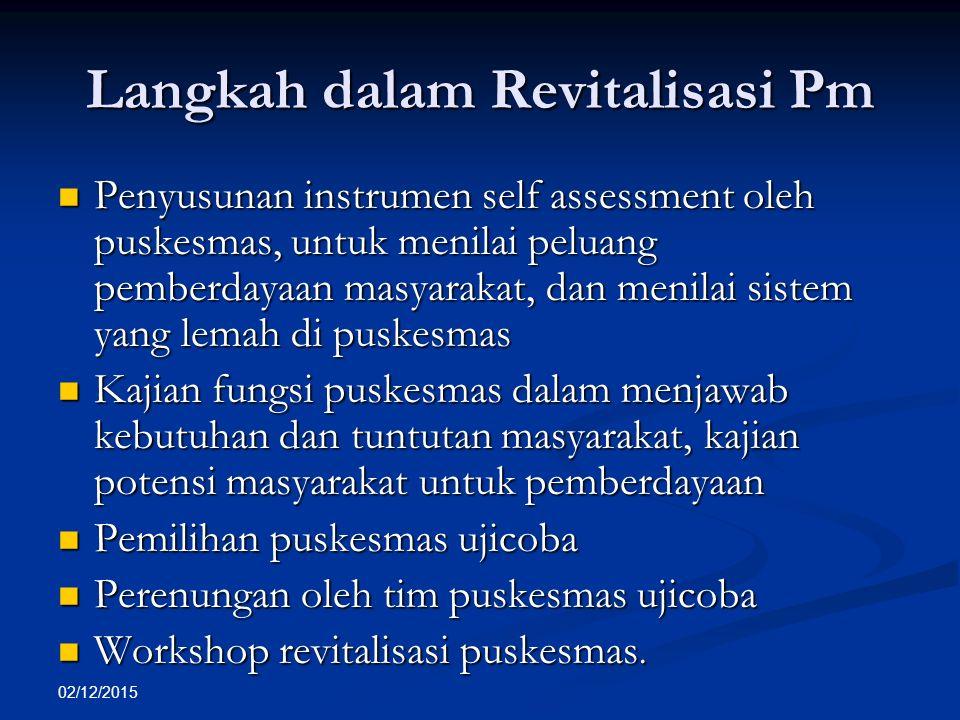 02/12/2015 Langkah dalam Revitalisasi Pm Penyusunan instrumen self assessment oleh puskesmas, untuk menilai peluang pemberdayaan masyarakat, dan menil