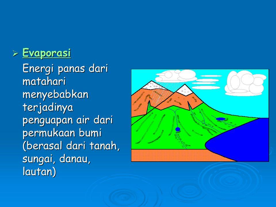  Evaporasi Energi panas dari matahari menyebabkan terjadinya penguapan air dari permukaan bumi (berasal dari tanah, sungai, danau, lautan)