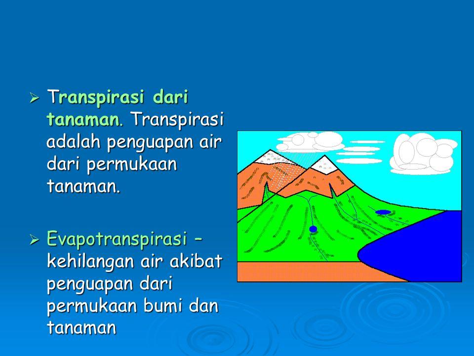  Transpirasi dari tanaman.Transpirasi adalah penguapan air dari permukaan tanaman.