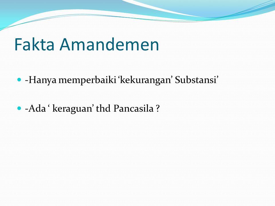 Fakta Amandemen -Hanya memperbaiki 'kekurangan' Substansi' -Ada ' keraguan' thd Pancasila