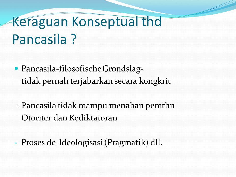 Keraguan Konseptual thd Pancasila .