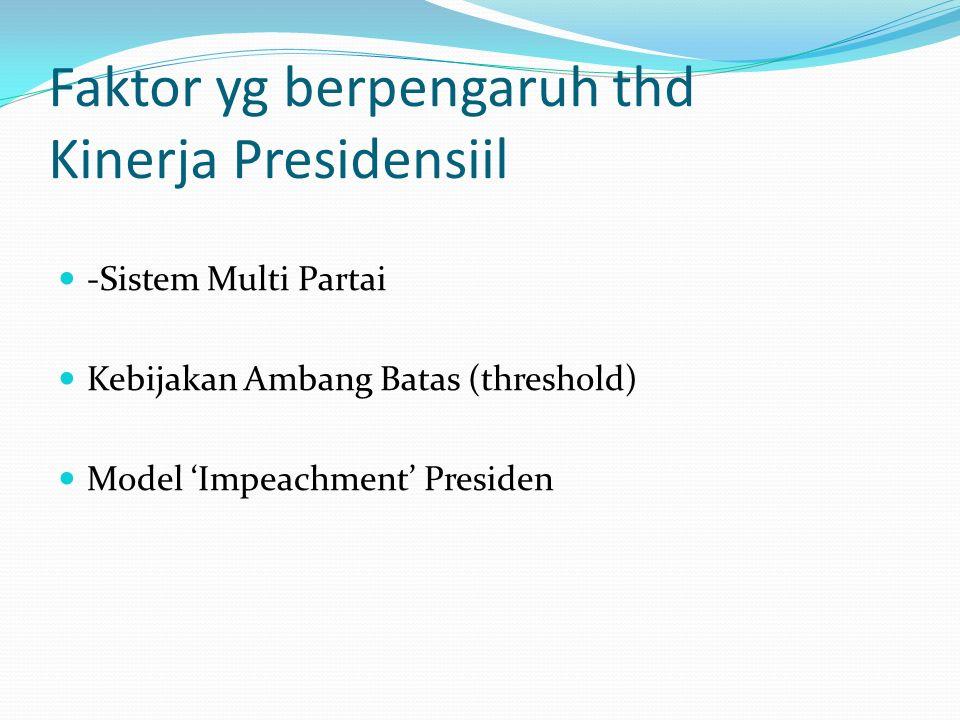 Faktor yg berpengaruh thd Kinerja Presidensiil -Sistem Multi Partai Kebijakan Ambang Batas (threshold) Model 'Impeachment' Presiden