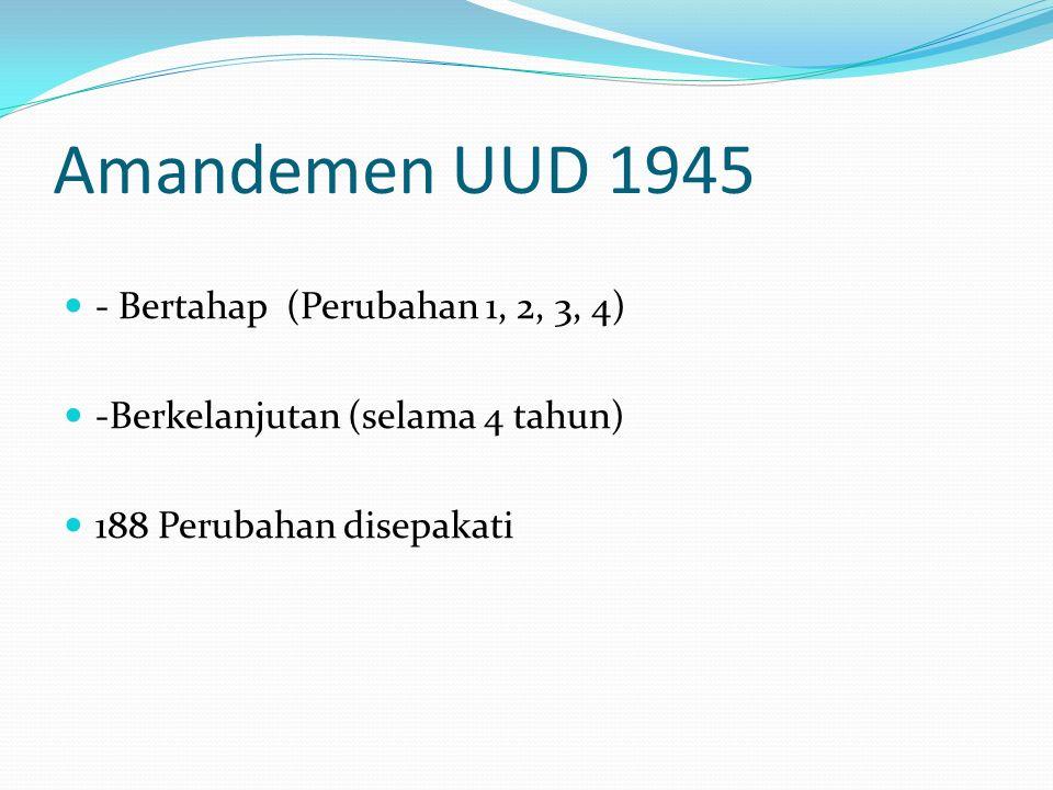 Amandemen UUD 1945 - Bertahap (Perubahan 1, 2, 3, 4) -Berkelanjutan (selama 4 tahun) 188 Perubahan disepakati