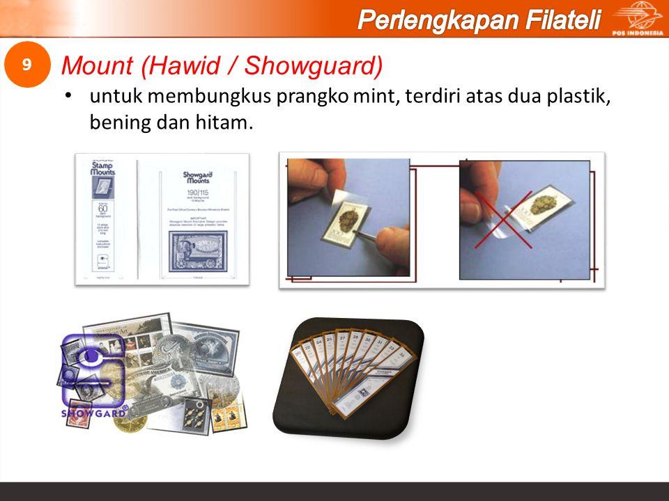 untuk membungkus prangko mint, terdiri atas dua plastik, bening dan hitam. Mount (Hawid / Showguard) 9