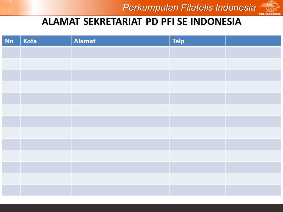 ALAMAT SEKRETARIAT PD PFI SE INDONESIA Perkumpulan Filatelis Indonesia NoKotaAlamatTelp