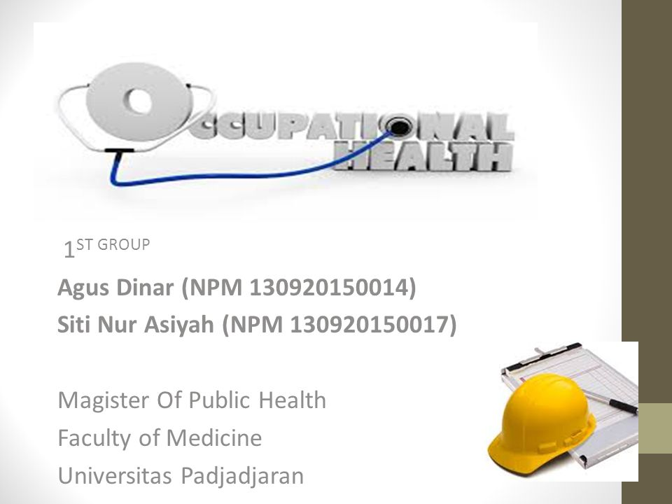 CONCLUSION Occupational health is a specialization in health sciences as well as the practice that aims, so that the worker / community worker health as well as possible physical, mental, emotional, and social with promotive, preventive, curative, and rehabilitative against diseases / health problems caused by job or work environment, as well as against general diseases.