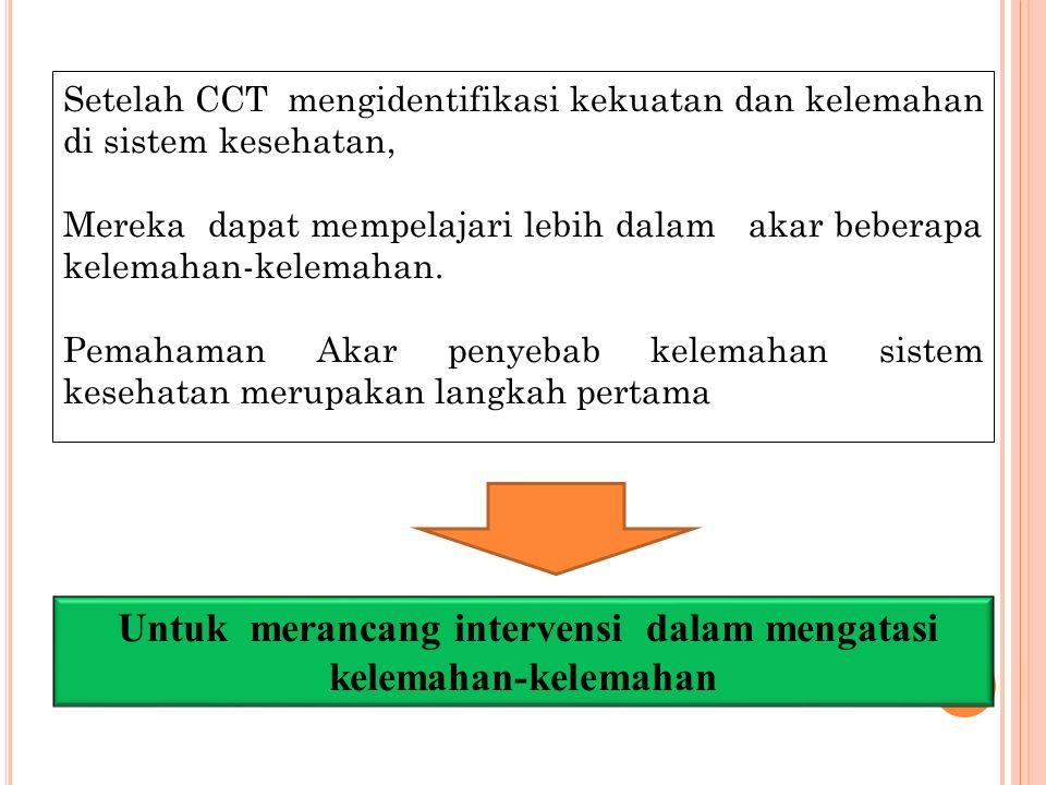Setelah CCT mengidentifikasi kekuatan dan kelemahan di sistem kesehatan, Mereka dapat mempelajari lebih dalam akar beberapa kelemahan-kelemahan. Pemah
