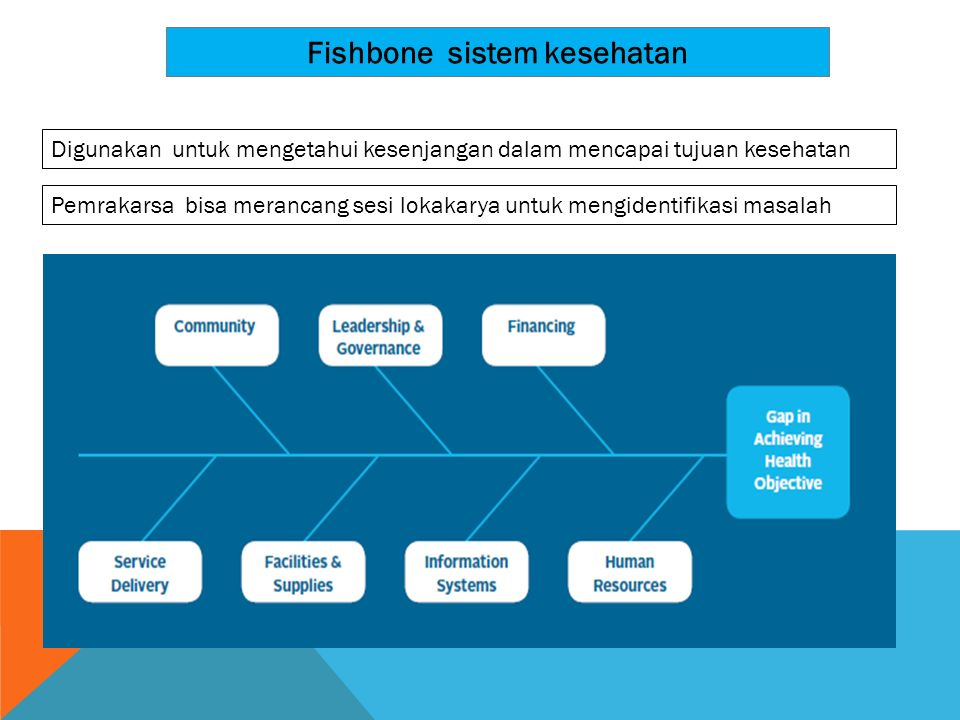 Fishbone sistem kesehatan Digunakan untuk mengetahui kesenjangan dalam mencapai tujuan kesehatan Pemrakarsa bisa merancang sesi lokakarya untuk mengid