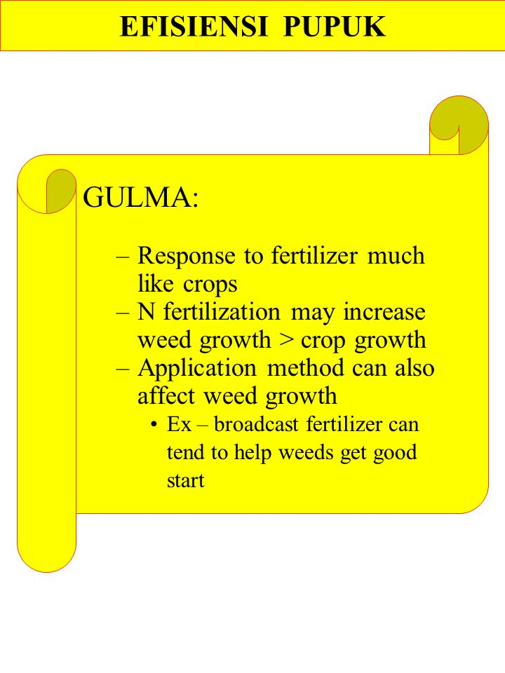GULMA: –Response to fertilizer much like crops –N fertilization may increase weed growth > crop growth –Application method can also affect weed growth Ex – broadcast fertilizer can tend to help weeds get good start EFISIENSI PUPUK