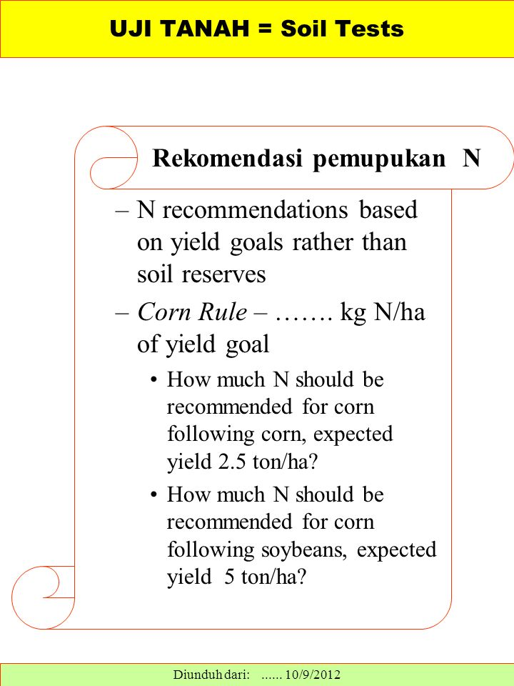 –N recommendations based on yield goals rather than soil reserves –Corn Rule – …….