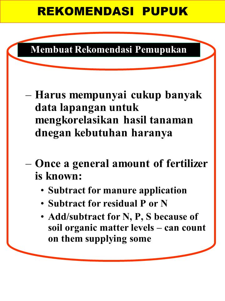 –Harus mempunyai cukup banyak data lapangan untuk mengkorelasikan hasil tanaman dnegan kebutuhan haranya –Once a general amount of fertilizer is known: Subtract for manure application Subtract for residual P or N Add/subtract for N, P, S because of soil organic matter levels – can count on them supplying some REKOMENDASI PUPUK Membuat Rekomendasi Pemupukan