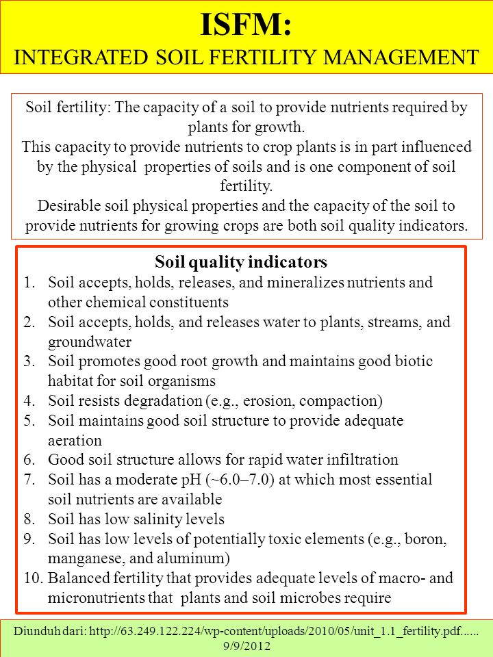 ISFM: INTEGRATED SOIL FERTILITY MANAGEMENT Diunduh dari: http://63.249.122.224/wp-content/uploads/2010/05/unit_1.1_fertility.pdf......