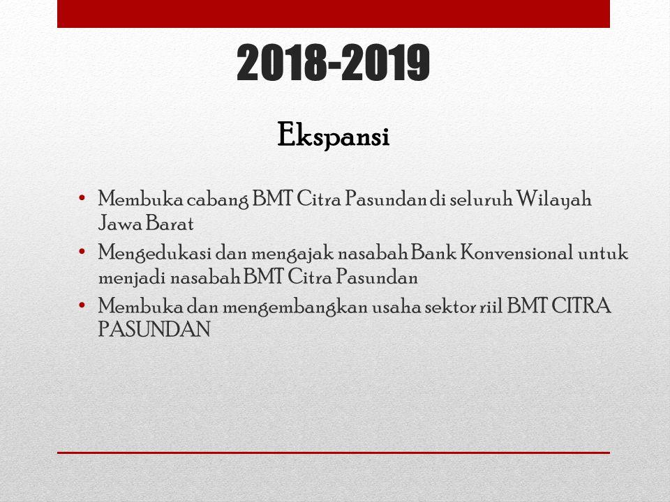 2018-2019 Membuka cabang BMT Citra Pasundan di seluruh Wilayah Jawa Barat Mengedukasi dan mengajak nasabah Bank Konvensional untuk menjadi nasabah BMT Citra Pasundan Membuka dan mengembangkan usaha sektor riil BMT CITRA PASUNDAN Ekspansi