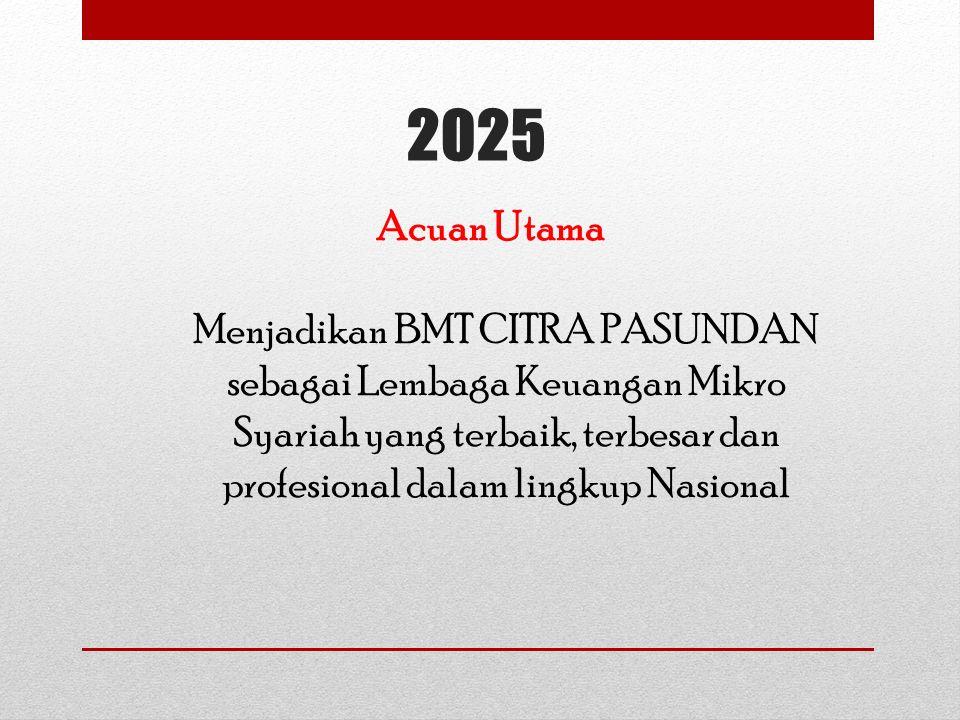 2025 Acuan Utama Menjadikan BMT CITRA PASUNDAN sebagai Lembaga Keuangan Mikro Syariah yang terbaik, terbesar dan profesional dalam lingkup Nasional